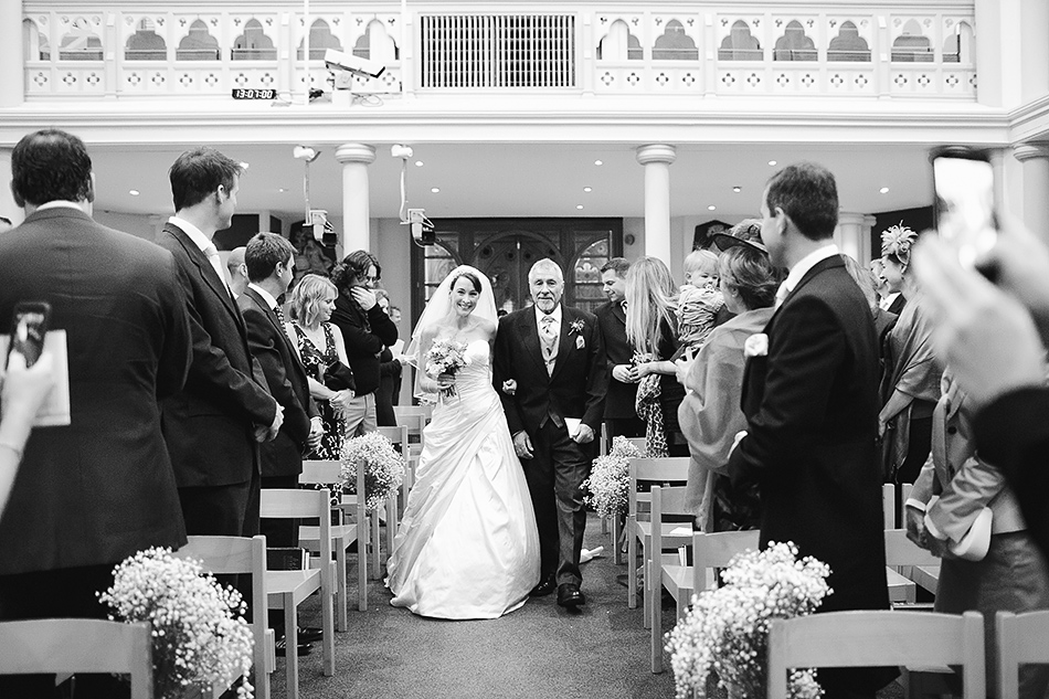 black and white wedding photography inside the church