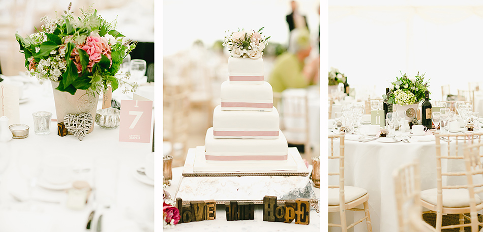 wedding day cake and diy table decorations at creative wedding