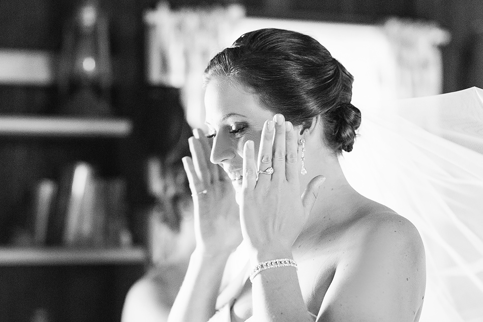 black and white wedding photographer queensland bride getting ready