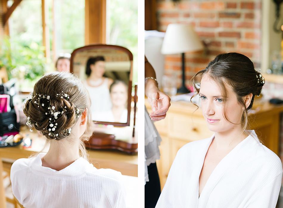 brides wedding hair babys breath wedding flowers