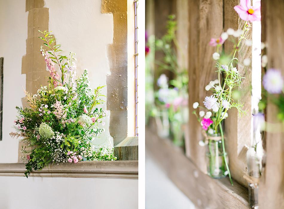 pink church wedding flowers