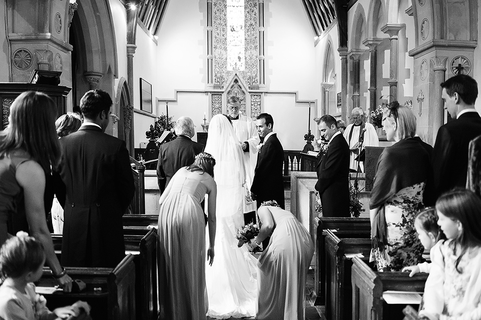 black and white photography for wedding at a church