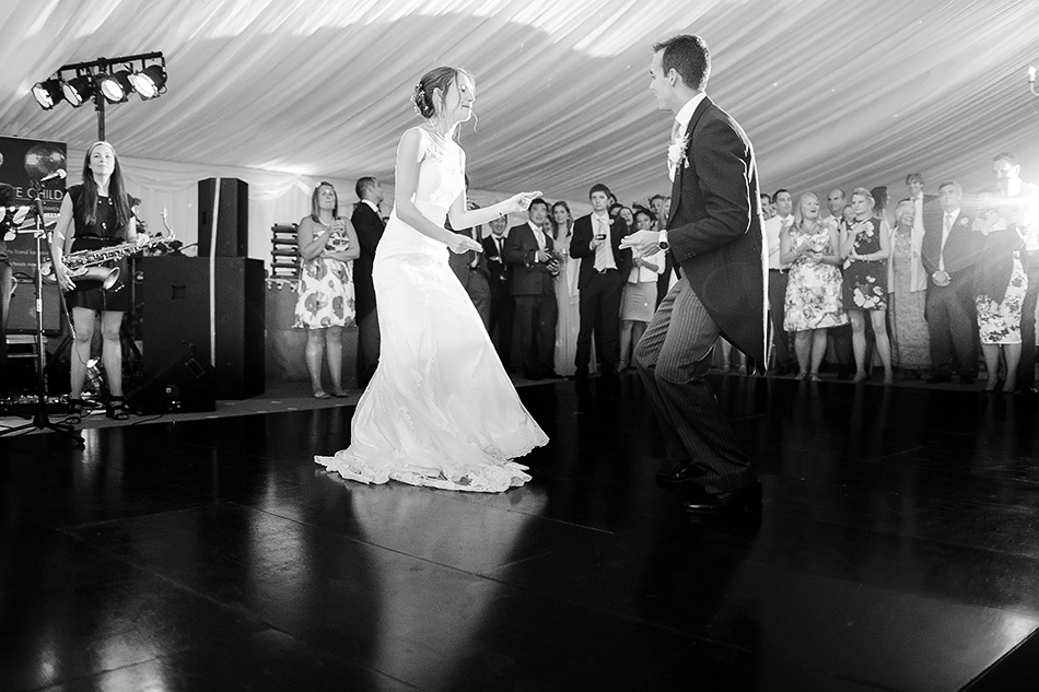 bride and groom first dance photo black and white