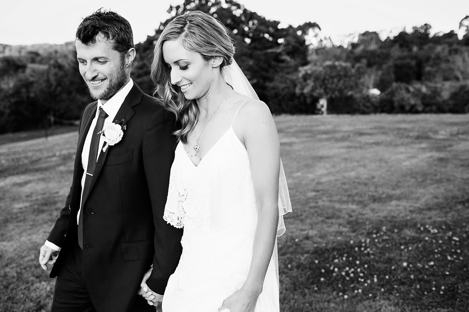 outdoor wedding photographer at clunes earth house byron bay creative wedding portrait black and white
