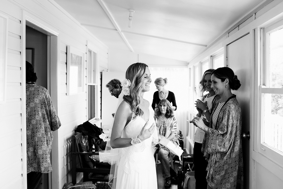 black and white wedding photographer in byron bay with bridal party earth house