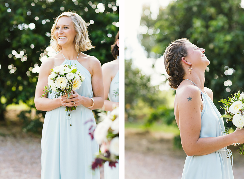 blue bridesmaid dresses byron bay relaxed wedding at the barn wedding in earth house bangalow