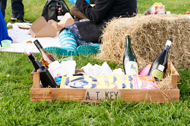 wedding picnic hamper for a field wedding