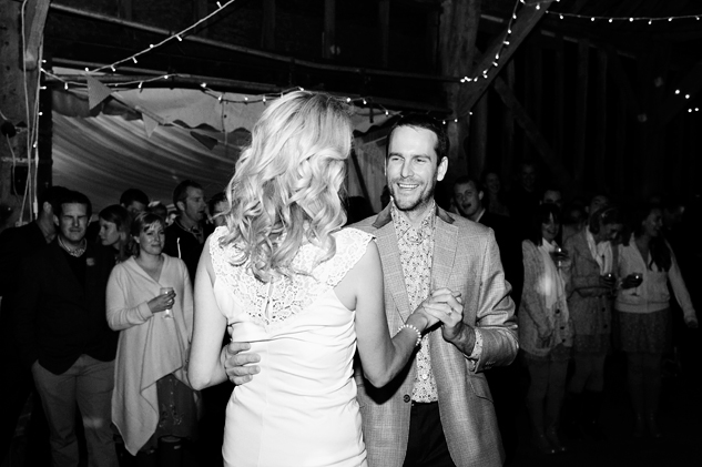 first dance in a barn at a festival style wedding