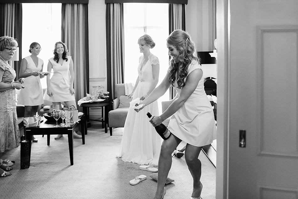 wedding photographs of bride getting ready in the morning
