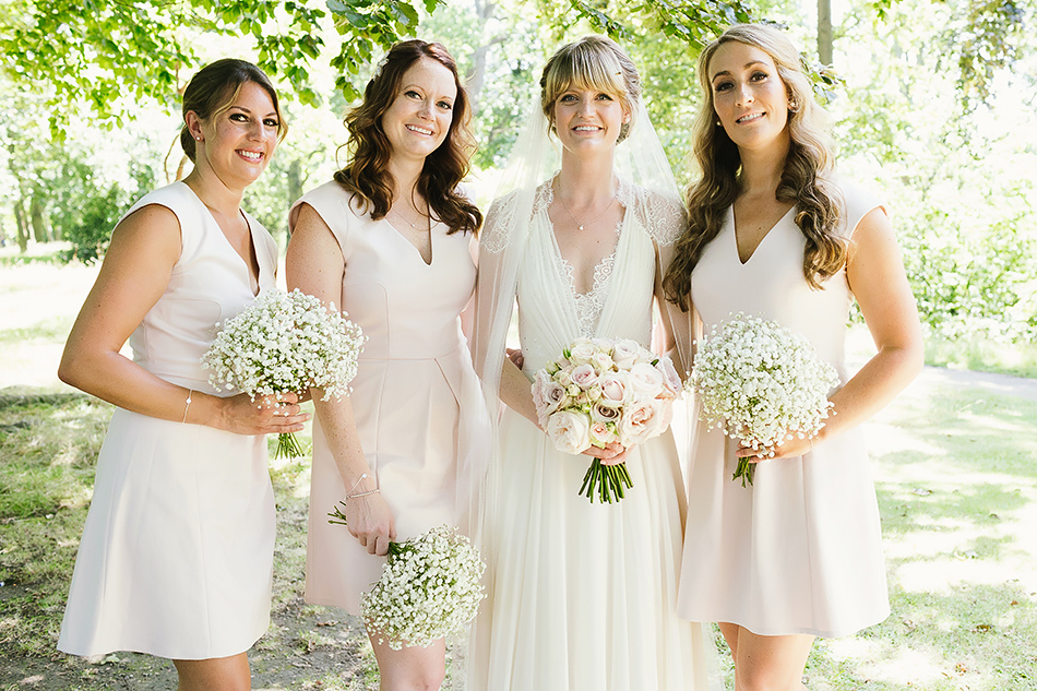bridesmaid and bride wedding day family portraits natural light