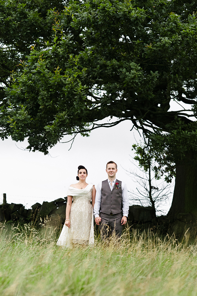 festival wedding photography in a field
