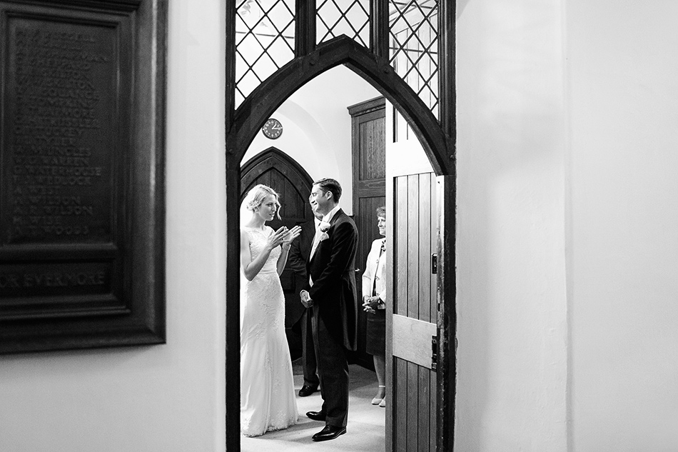 bride and groom black and white reportage wedding photography