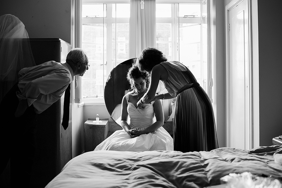 black and white wedding photography sunshine coast bride getting ready in bride dress brisbane