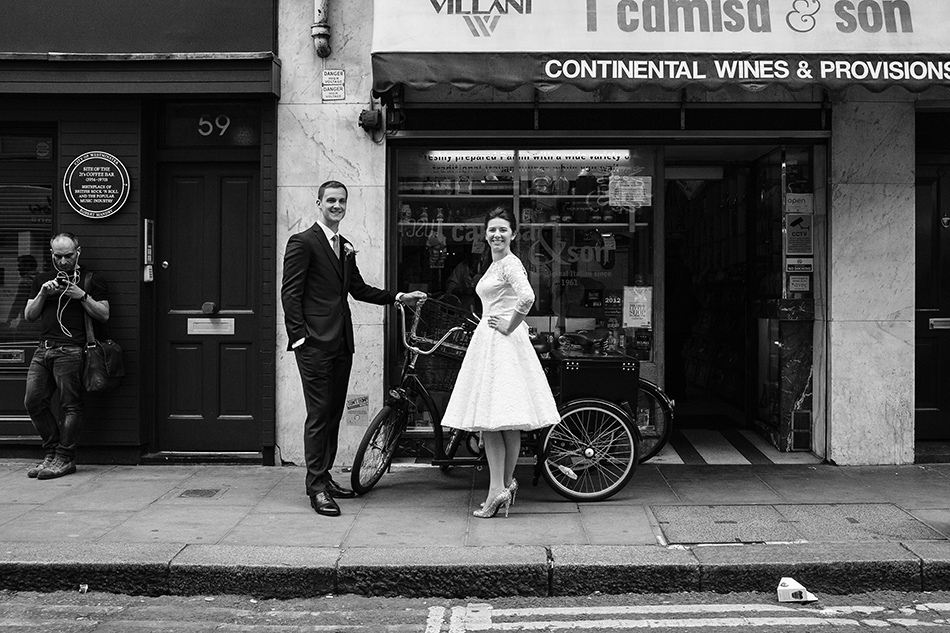 black and white wedding photography of bride and groom