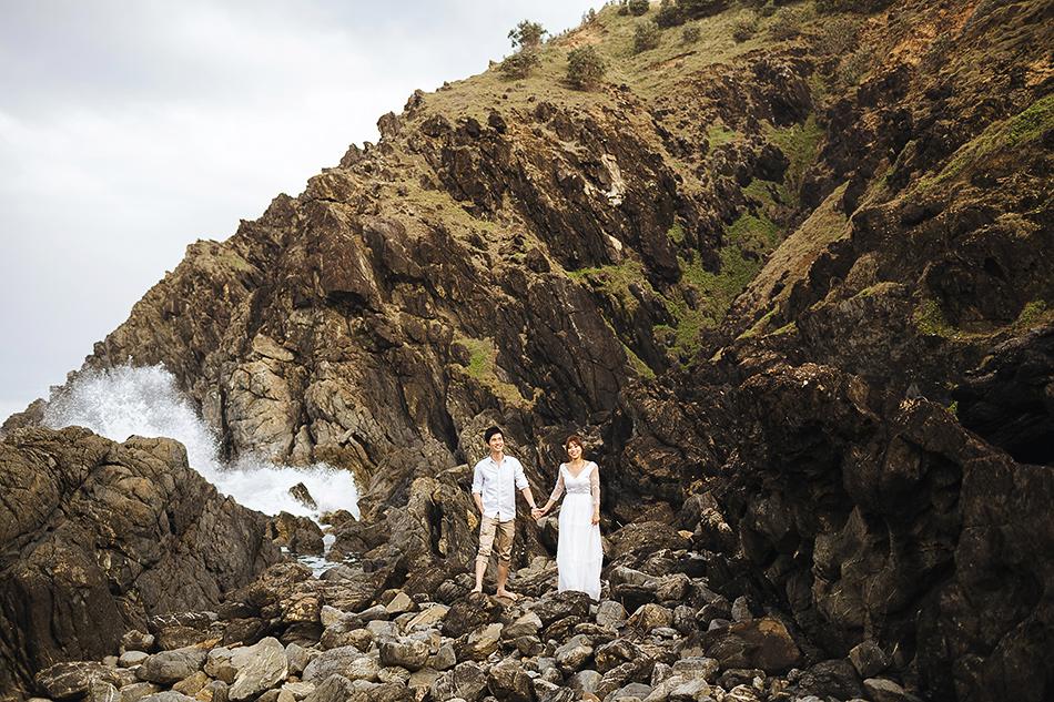 byron bay wedding photographer at the byron bay beach near the lighthouse engagement photos couple photography