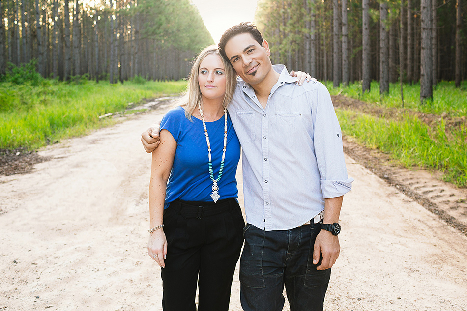 creative wedding photographer pre wedding portrait session in the forest or woodlands with queensland couple