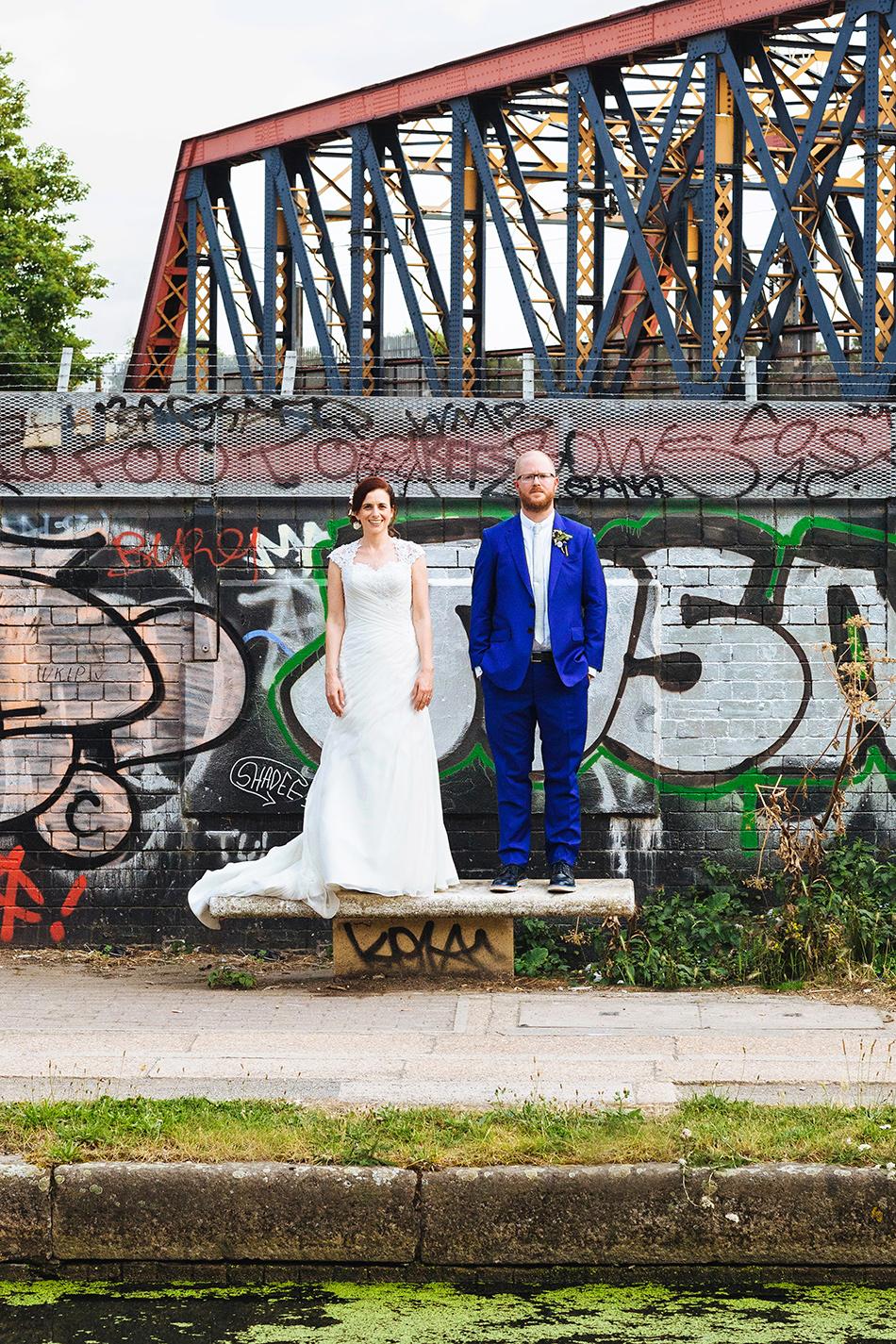 industrial wedding photography city wedding portrait on brick wall brisbane