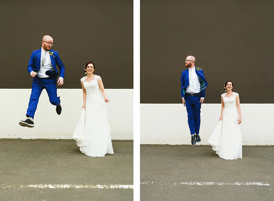 bride and groom jumping photo loft wedding in the street