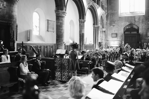 black and white wedding photography in a church