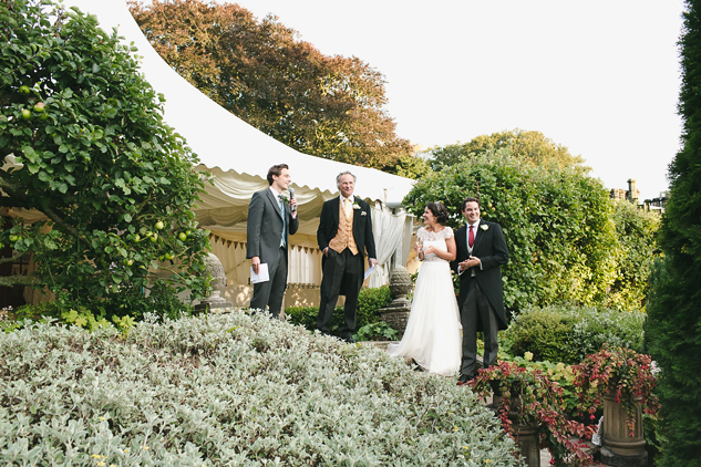 creative wedding photography speeches in the garden on dusk photography