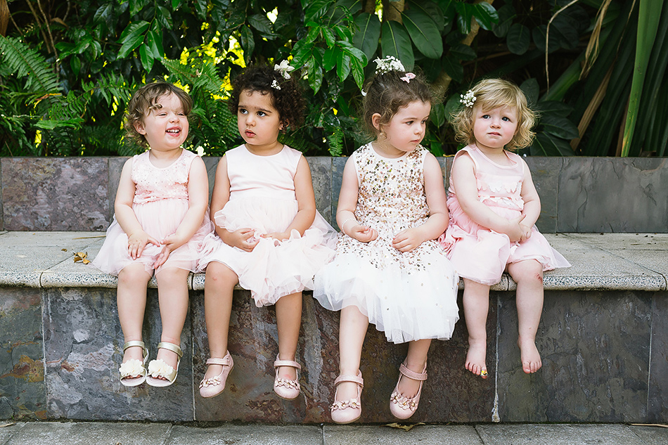 flower girls and bridal party at the elandra mission beach wedding
