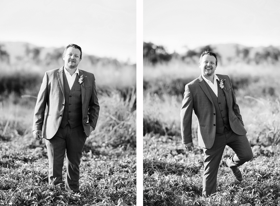 black and white wedding photography clair in a field