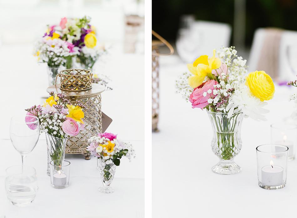 wedding flowers the elandra mmission beach reception tables