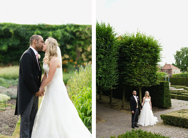 creative wedding photography at kew gardens with bride and groom in rose garden in a field by clair estelle