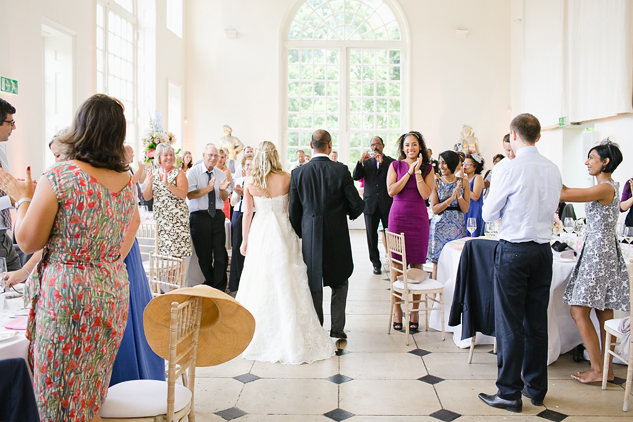 documentary wedding photography bride and groom entering reception brisbane london the orangery kew gardens
