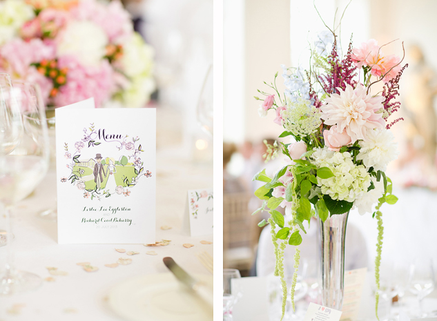 creative wedding photography reportage wedding photography wedding decorations pastel pink flowers and table menus with hand done illustration by clair estelle london brisbane sunshine coast
