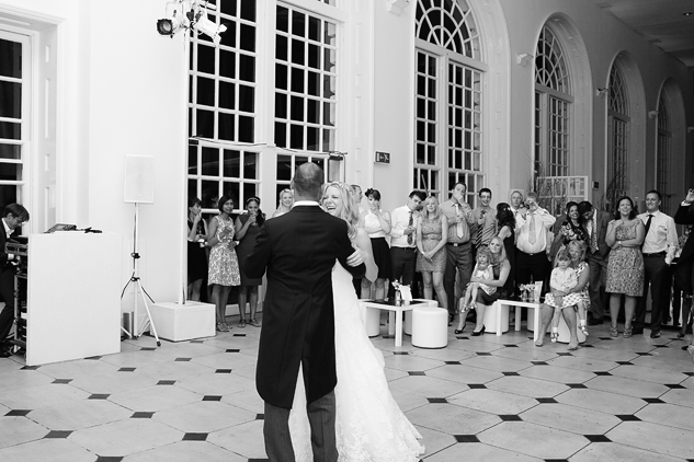 bride and groom first dance black and white party photography documentary
