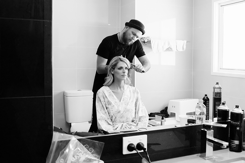 bride getting ready photos brisbane black and white photography