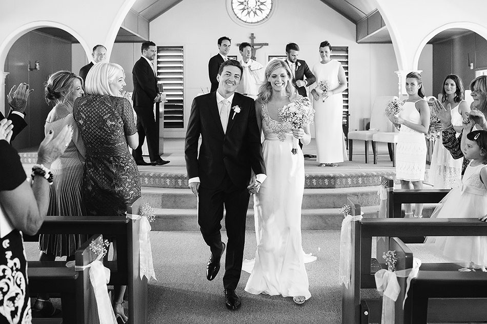 black and white wedding photographer brisbane wedding chris the king church